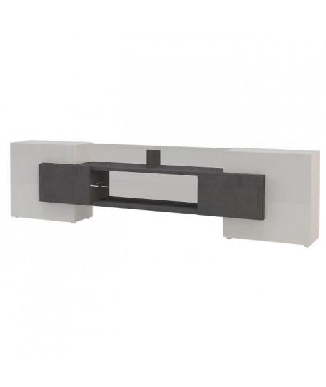 SOLAR Meuble TV contemporain décor gris béton + tablettes en verre éclairé - L 242 cm