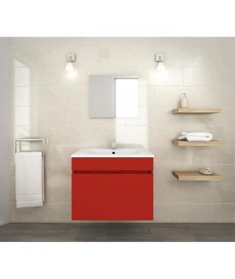 LUNA Ensemble salle de bain simple vasque L 60 cm - Rouge mat