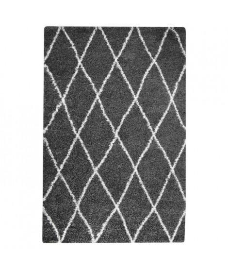 ASMA Tapis de salon Shaggy - Style berbere - 200 x 280 cm - Gris - Motif géométrique