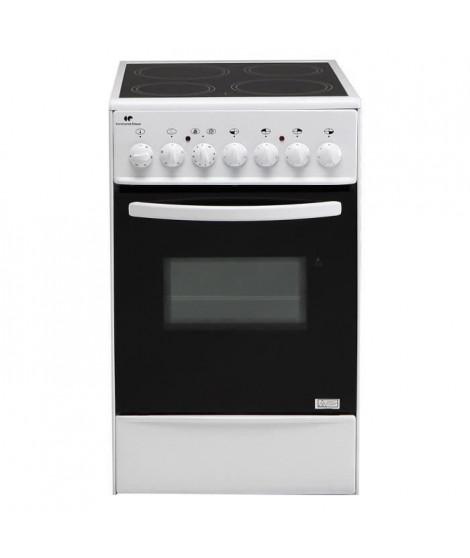 Continental Edison CVMC5060W - Cuisiniere table vitrocéramique-4 foyers- 1700W- Four élecectrique-Catalyse-45,36L-B-L49XH83-B…