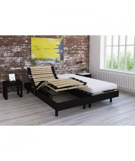 Ensemble relaxation matelas + sommiers électriques décor wengé 2x80x200 - Mousse - 14 cm - Ferme - TALCA