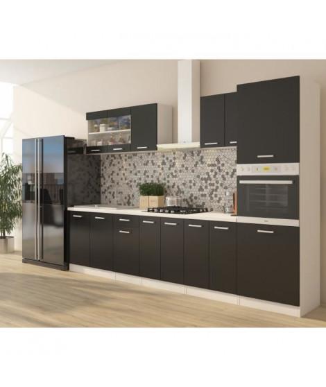 ULTRA Cuisine complete avec colonne four et plan de travail inclus L 300 cm - Noir mat