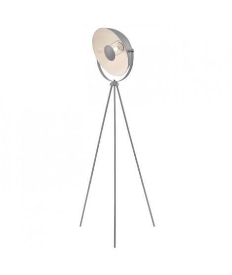 MOVIE Lampadaire trépied - H 148 cm - Tete : Ø 35 cm - Gris et blanc
