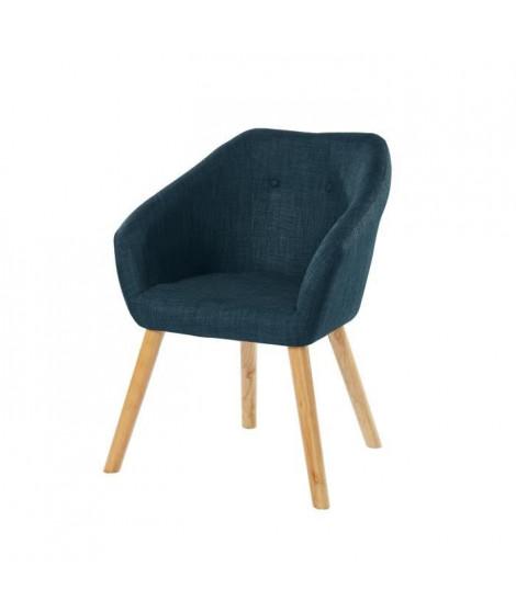 HILDA Fauteuil - Tissu bleu canard - Scandinave - L 62 x P 60 cm