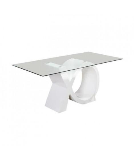 SHARON Table a manger 8 personnes contemporain - Laqué blanc brillant + Plateau en verre trempé - L 180 x l 90 cm