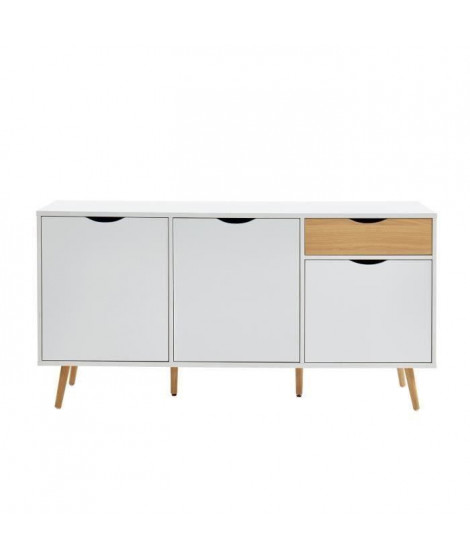 BELA Buffet avec 3 portes et 1 tiroir - Blanc et décor bois - L 150 x P 39,5 x H 75 cm