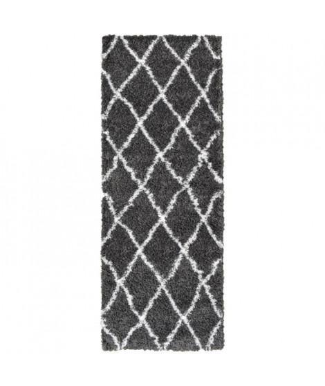 ASMA Tapis de couloir Shaggy - Style berbere - 67 x 180 cm - Gris - Motif géométrique
