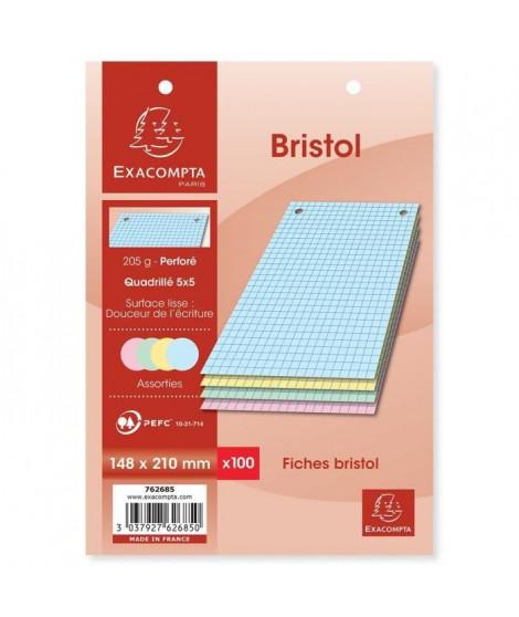 EXACOMPTA - 100 Fiches Bristol couleurs - 4 coloris assortis - Perforées - 14,8 x 21 - 5x5 - Papier P.E.F.C 205G