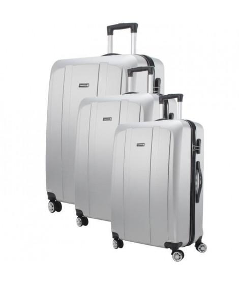 MAJESTICK 09 Set de 3 Valises Trolley Rigide ABS - 8 Roues - 50-60-70 cm - Argent