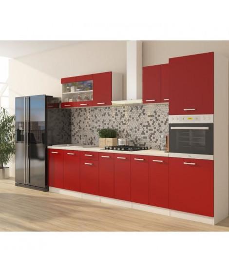 ULTRA Cuisine complete avec colonne four et plan de travail inclus L 300 cm - Rouge mat