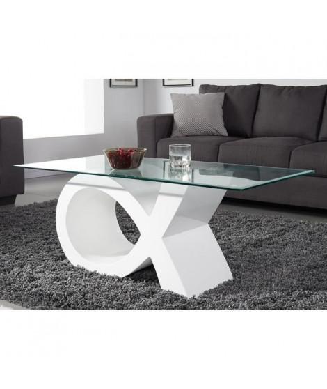 SHARON Table basse en verre contemporain laqué blanc brillant 110x55cm