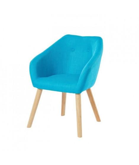 HILDA Fauteuil - Tissu bleu turquoise - Scandinave - L 62 x P 60 cm