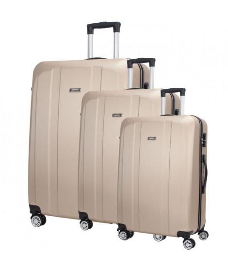 MAJESTICK 09 Set de 3 Valises Trolley Rigide ABS - 8 Roues - 50-60-70 cm - Champagne