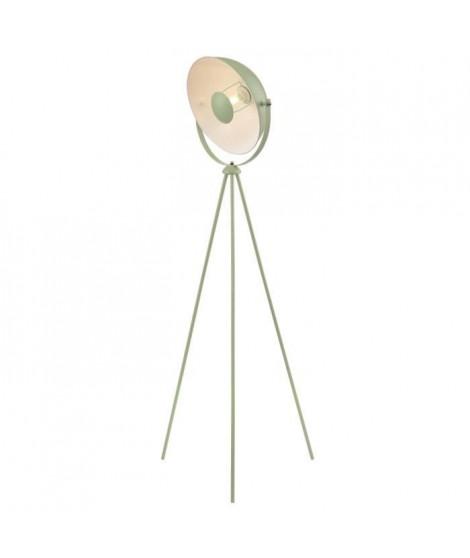 MOVIE Lampadaire trépied - H 148 cm - Tete : Ø 35 cm - Vert amande et blanc