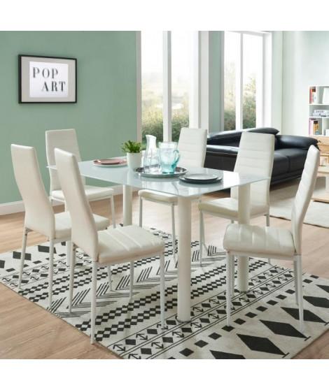 BELAIR table a manger de 4 a 6 personnes style contemporain + 6 chaises en simili  blanc mat - L 140 x l 80 cm