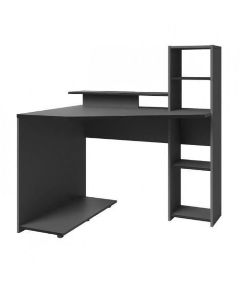 GAMING Bureau d'angle réversible - Décor gris et noir - L 112 x P 90 x H 121  cm