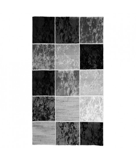 SUBWAY CUBE Tapis de salon en polypropylene - 80x150 cm - Noir
