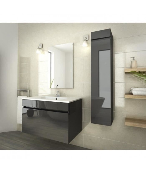 LUNA Ensemble salle de bain simple vasque L 80 cm - Gris anthracite verni