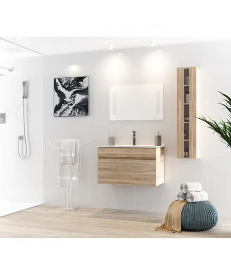 ALBAN Ensemble salle de bain simple vasque avec miroir L 80 cm - Décor bois naturel