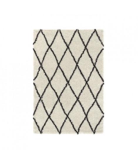 ASMA Tapis de salon Shaggy - Style berbere - 200 x 280 cm - Creme et marron - Motif géométrique