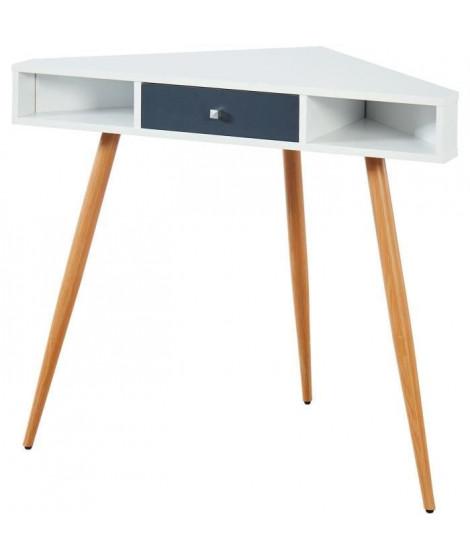 BABETTE Bureau d'angle scandinave blanc + pieds en métal aspect bois - L 106 cm