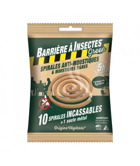 BARRIERE A INSECTES GREEN Spirales anti-moustiques a base de pyrethre - Sachet de 10 spirales