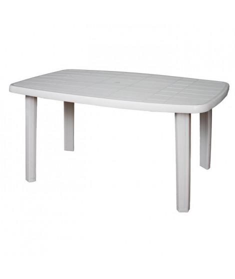 Table de jardin rectangulaire Sorrento - 6 places - 140 x 80 x 72 cm - Blanc