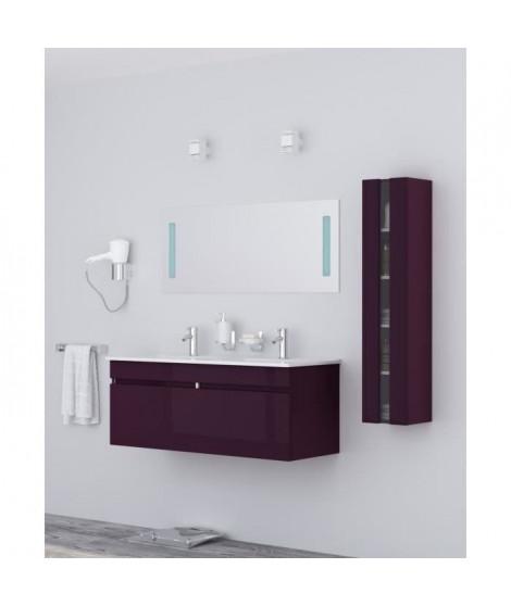 ALBAN Ensemble salle de bain double vasque avec miroir L 120 cm - Aubergine laqué brillant