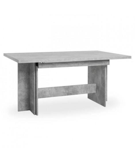 ANCONA Table a manger extensible de 8 a 12 personnes classique effet béton structuré - L 160 / 310 x l 90 cm
