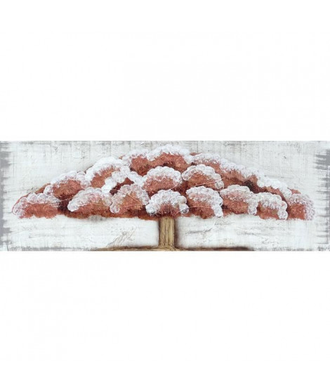 ARBRES CUIVRE Toile peinte 50x150 cm Marron et blanc