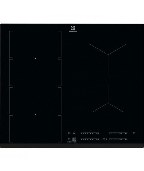 ELECTROLUX EIV654 FLEX- Table de Cuisson Induction - 4 foyers - 4 boosters - 7350W - L60 x P52 x H44cm - Revetement verre - Noir