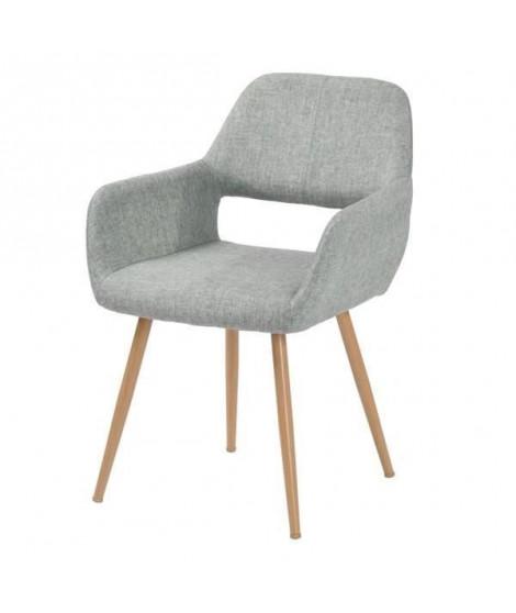 CROMWELL Chaise de salle a manger en métal imprimé bois - Revetement tissu grise - Style scandinave - L 56 x P 56 cm