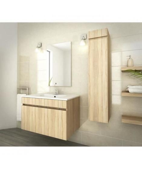 LUNA Ensemble salle de bain simple vasque L 80 cm - Décor oak sonoma