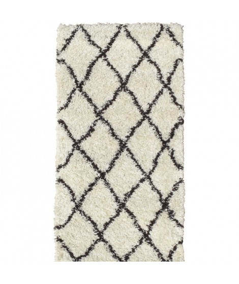 ASMA Tapis de couloir Shaggy - Style berbere - 80 x 140 cm - Creme et marron - Motif géométrique