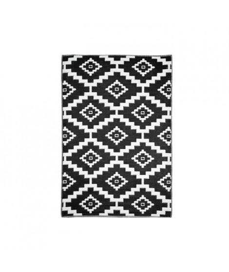 TROPIQUE Tapis d'extérieur 150 x 220 cm - Noir et Blanc - Motif azteque - Réversible