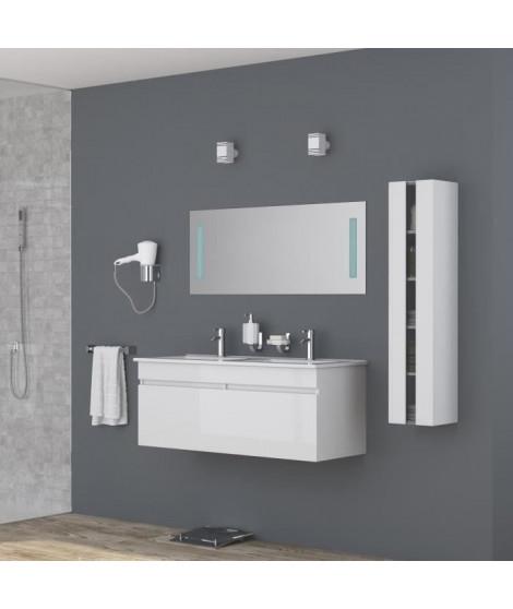 ALBAN Ensemble salle de bain double vasque avec miroir L 120 cm - Blanc laqué brillant