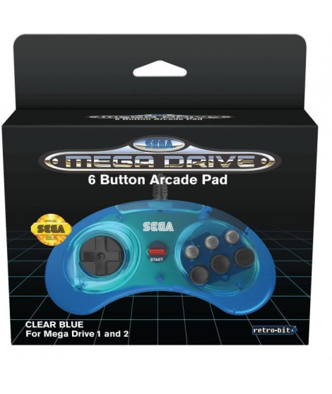 Manette Officielle SEGA Mega Drive Mini Retro-bit 6-button USB - Bleue