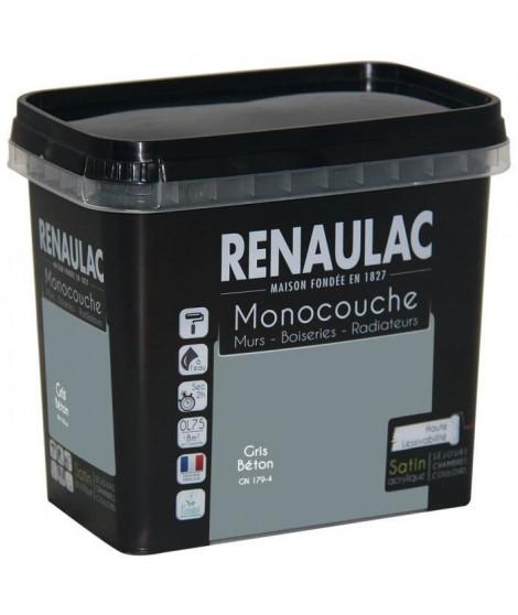 Peinture murale monocouche multi-support 0,75 L gris béton satin Murs / Boiseries / Radiateurs - RENAULAC