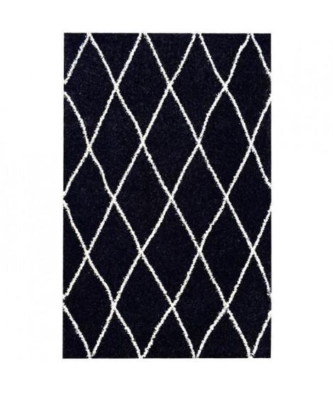 ASMA Tapis de salon Shaggy - Style berbere - 120 x 160 cm - Noir - Motif géométrique