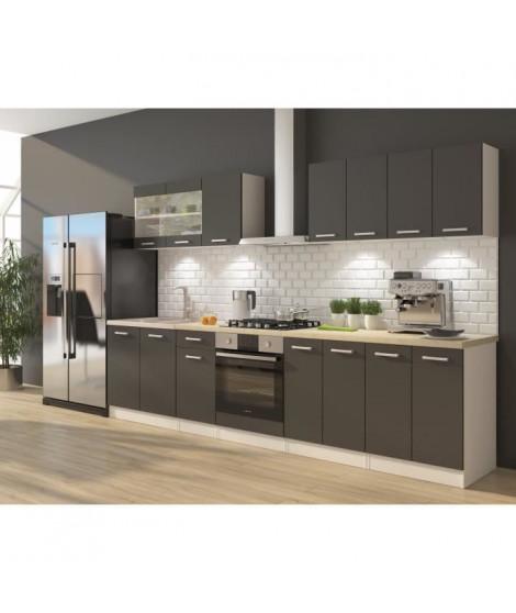 ULTRA Cuisine complete avec meuble four et plan de travail inclus L 300 cm - Gris mat