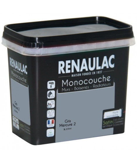 Peinture murale monocouche multi-support 0,75 L gris mercure satin Murs / Boiseries / Radiateurs - RENAULAC