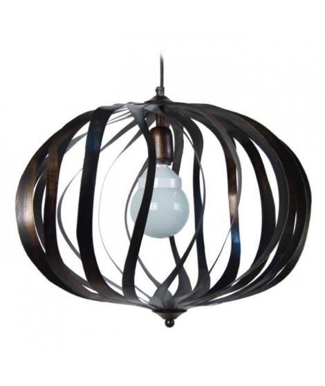 OVALIA Suspension cercles tôle acier 50x50x100 cm Noir et Or