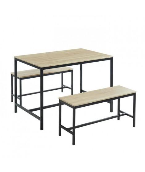BARI Ensemble repas table + 2 bancs - Décor chene et noir - Style industriel - L 110 x P 70 x H 75cm
