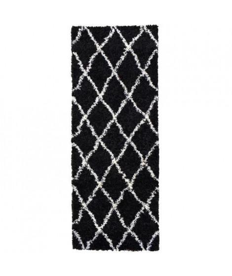 ASMA Tapis de couloir Shaggy - Style berbere - 67 x 180 cm - Noir - Motif géométrique