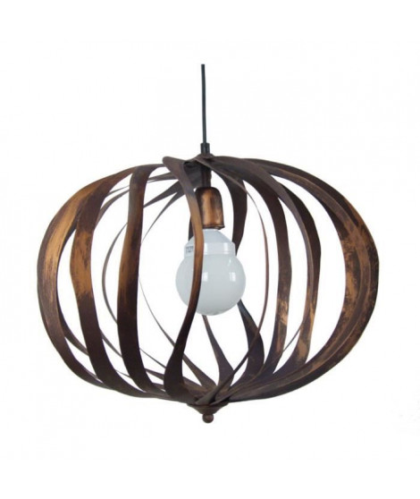 OVALIA Suspension cercles tôle acier - 50x50x100 cm - Marron / Or