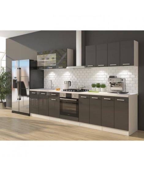 ULTRA Cuisine complete avec meuble four et plan de travail inclus L 300 cm - Gris brillant