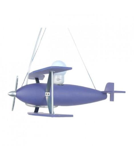 AVION Suspension bois hetre tôle métal - 40x40x60 cm - Bleu Violet