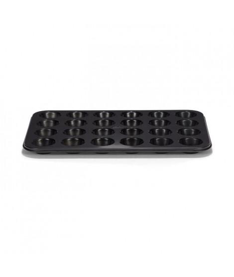 PATISSE Plaque a muffins antiadhésif en acier revetu - 24 cavités - 35 x 28 cm - Noir