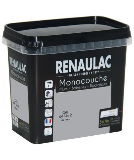 Peinture murale monocouche multi-support 0,75 L gris de lin satin Murs / Boiseries / Radiateurs - RENAULAC