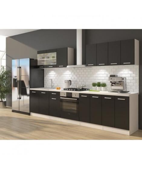 ULTRA Cuisine complete avec meuble four et plan de travail inclus L 300 cm - Noir mat